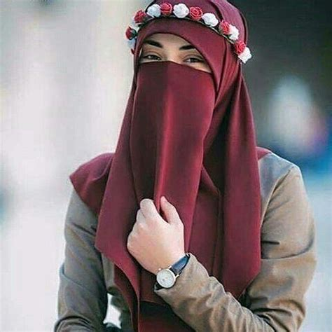red Niqab with a flower crown | That Niqabi Life