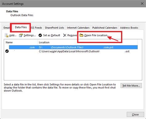Outlook PST File Location (Create/Import/Open PST Files
