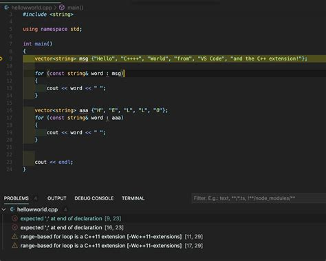 c++11: Mac VSCode Debugger always show error about ';' and