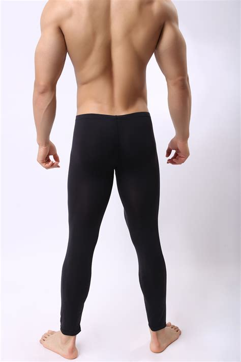 Mens Smooth Bulge Pouch Long Johns Tight Fit Pants Basic