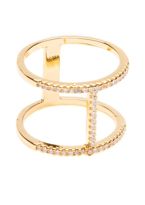 Bague Double Barre Strass - Happiness Boutique