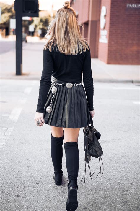 pleated leather skirt and knee high boots - High End Hippie