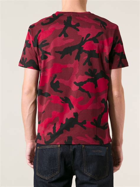 Valentino Camouflage Tshirt in Red for Men   Lyst