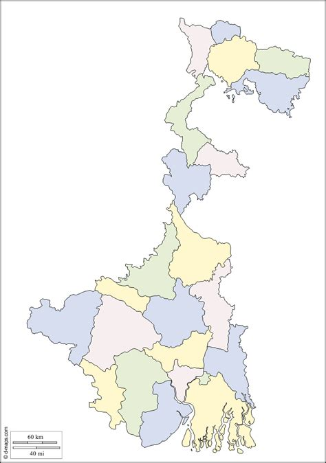 West Bengal free map, free blank map, free outline map