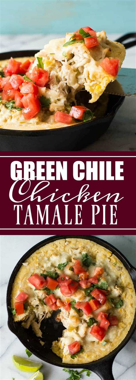 Green Chile Chicken Tamale Pie - House of Yumm